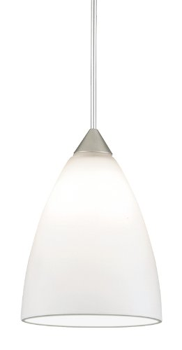 Juno Lighting Group P61Mpla2-Stn-Opl Medium Dome 5W 12V 2700K Led Monopoint Pendant With Opal Etched Glass, Satin Nickel Finish