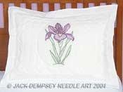 Jack Dempsey Stamped Standard Pillow Sham Cross Stitch Kit, Iris, 1 Per Package