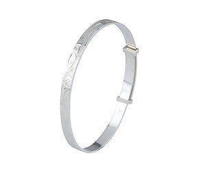 Unique Wishlist Sterling Silver Engraved Childs Expandable Bangle