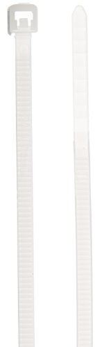 """Panduit Plt1M-C Pan-Ty Cable Tie, Nylon 6.6, Miniature Cross Section, Curved Tip, Plenum-Rated, 18Lbs Min Tensile Strength, .87"""" Max Bundle Diameter, .043"""" Thickness, .098"""" Width, 3.9"""" Length (Pack Of 100)"""