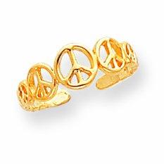 14k Peace Sign Toe Ring