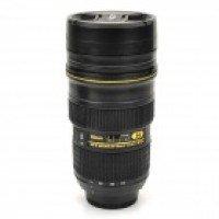 1:1 Nican Lens Shaped Thermos Coffee Mug Cup - Black (450ml)