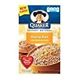 Quaker, Instant Oatmeal, Honey Bun, 10 Count Box (Pack of 4) ~ Quaker