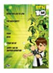 INVITATION PAD - BEN 10 - 20 PAPER INVITES WITH ENVELOPES