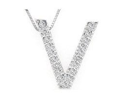 Alphabet V Diamond Initial Pendant in 14k White Gold