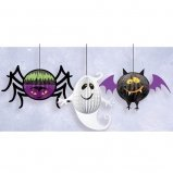 Halloween Hanging Party Decorations - Adorable Honeycomb Spider, Ghost, and Bat - Set of 3