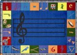 "Joy Carpets Kid Essentials Music & Special Needs Preschool Note Worthy Rug, Multicolored, 10'9"" x 13'2"""