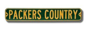 """Green Bay Packers """"Packers Country"""" 6"""" x 36"""" Metal Street Sign"""