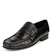 Collezione Leather Pleated Loafers