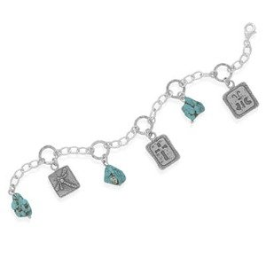 Turquoise and Dragonfly, Cross, and Butterfly Charm Designer Sterling Silver Bracelet