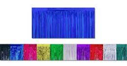 Blue Metallic Fringe Table Skirt