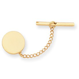 Gold-plated Round Polished Tie Tack - JewelryWeb