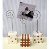 New Arrivals Small Photo Blocks, Set of 3, Blue/Chocolate