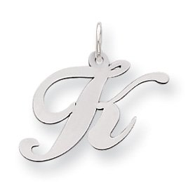 Sterling Silver Medium Fancy Script Initial K Charm - JewelryWeb