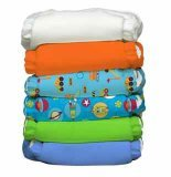 Charlie Banana 2-in-1 Reusable Diapering System, 6 Diapers plus 12 Inserts, Under Construction, One-Size