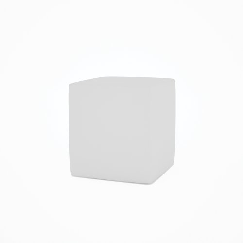 Designer White Leather Square Stool Cube - Enzo by GillmoreSPACE
