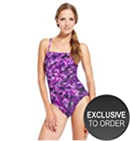 M&S Collection Ruched Palm Print Bandeau Swimsuit