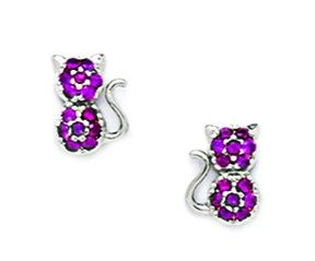 14ct White Gold Red CZ Cat Screwback Earrings - Measures 8x6mm