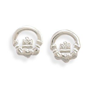 Clevereve Designer Series Sterling Silver Polished Claddagh Stud Earrings 9.0Mm