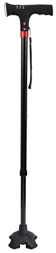 Secure Quad Tip Self Standing Multifunction Walking Cane, Black - LED Flashlight, Panic Alarm and Alert Light (Cane Self Standing compare prices)