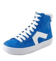 Suede Lace Up High Top Trainers