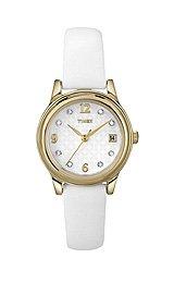Timex Women's T2N4499J Updated Dress Swarovski Crystals on White Dial Watch