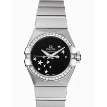Omega Constellation Chronometer Star Black Dial Stainless Steel Ladies Watch 12315272001001