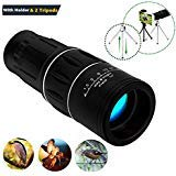 16x52 Best High Power Monocular Telescope with Quick Smartphone Holder - Multi Coated Optical Glass Lens-2019 New Waterproof Monocular for Bird Watching Hunting