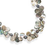 Extension Abalone Shell and Cultured Freshwater Pearl Necklace, Sterling Silver