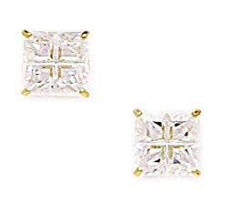 14k Yellow Gold 6mm Square Segmented CZ Screwback Earrings - JewelryWeb