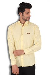 KIvon Men's Yellow Plain Casual Shirt