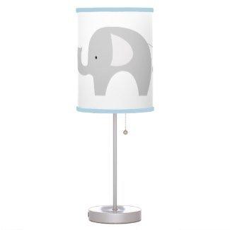 Netmodern Nursery Lighting : Modern Gray Elephant Nursery Lamp with Light Blue Trim Shade ...