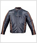 Motorcycle Jackets - Mens Vented Leather Motorcycle Jacket MJ413 Black Brown