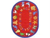 Joy Carpets Kid Essentials Early Childhood Round ABC Animals Rug, Red, 7'7""