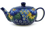 Polmedia Polish Pottery 12 oz Stoneware Tea Pot with Sifter H2844G Hand Painted from WR in Boleslawiec Poland. Shape S253E(8D) Pattern P1852A(DT2) Unikat polmedia polish pottery 7 inch stoneware bowl h8012f hand painted from vena in boleslawiec poland shape s051e 073 pattern p4890a u071 unikat