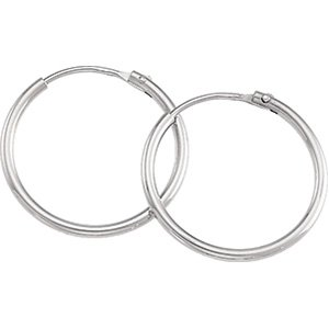 Platinum Plain Hoop Earring: 17.5 mm