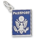 Rembrandt Charms, Blue Passport Charm, .925 Sterling Silver, Engravable