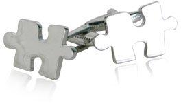 Unique Jigsaw Puzzle Piece Cufflinks in Silver with Presentation Box