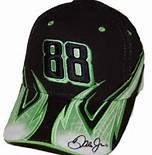 Dale Earnhardt Jr #88 AMP Energy Flames Flash Lightning Bolts Green, White and Black Chase Authentics Hat Cap