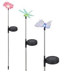 3 Stk. Solar Leuchten h=80 cm Schmetterling Libelle Blume 70180