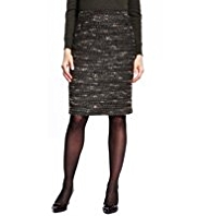 M&S Collection Knee Length Textured Pencil Skirt with New Wool