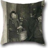 Throw Cushion Covers Of Oil Painting Jacob A. Riis - Waiting To Be Let In The Mulberry Street Station 18 X 18 Inches / 45 By 45 Cm,best Fit For Drawing Room,living Room,pub,bar,son,festival Each Side