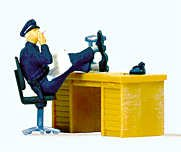 POLICEMAN AT DESK - PREISER HO SCALE MODEL TRAIN FIGURES 29089 - 1