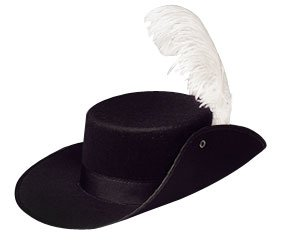Amazon.com: Adult Black Musketeer Hat With White Feather: Costume