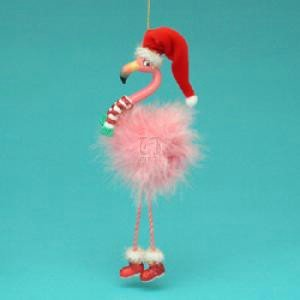 Pink Flamingo Christmas Tree Ornaments