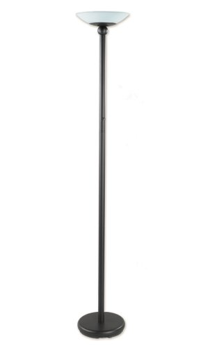 Good Earth Lighting GL6543-BK-GLI Lincoln Park Torchiere with Opal Glass Diffuser, Black