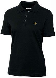 New Orleans Saints Ladies Ladies Ace 100% Cotton Polo Black by Cutter & Buck