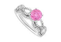 Pink Sapphire and Diamond Engagement Ring  Wedding