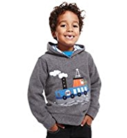 Hooded Boat Appliqué Fleece Top
