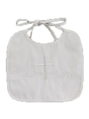 Lito White Embroidered Cotton Christening Baptism Boy's Bib